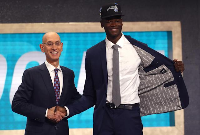 "<a class=""link rapid-noclick-resp"" href=""/nba/teams/orl"" data-ylk=""slk:Orlando Magic"">Orlando Magic</a> center Mo Bamba will wear No. 5 next season, most likely honoring musician Lou Bega and his hit song, ""Mambo No. 5."" (Getty Images)"