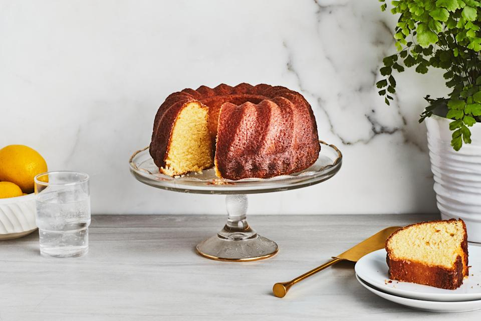 """When I sent this recipe to my friend Craig Claiborne, he printed it in the <em>New York Times</em>. It became amazingly popular. Devin, the young man who took care of our swimming pool, once even baked this cake on his charcoal grill (he didn't have an oven). It came out perfectly! <a href=""""https://www.epicurious.com/recipes/food/views/east-62nd-street-lemon-cake?mbid=synd_yahoo_rss"""" rel=""""nofollow noopener"""" target=""""_blank"""" data-ylk=""""slk:See recipe."""" class=""""link rapid-noclick-resp"""">See recipe.</a>"""
