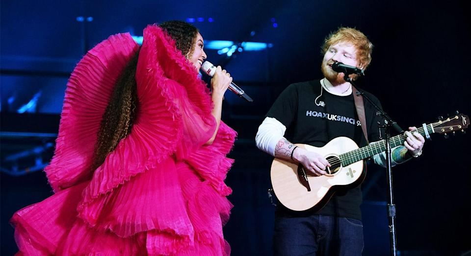 Ed Sheeran and Beyoncé performance looks couldn't have been more different. [Photo: Getty]