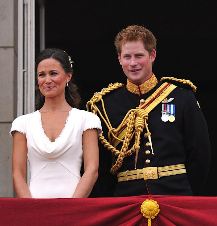 <p>While Pippa Middleton's dress was all the rage at the 2011 wedding of Prince William and Kate Middleton, Prince Harry didn't look so bad himself. Here, the best man and maid of honor take it all in at the famous balcony at Buckingham Palace.</p>