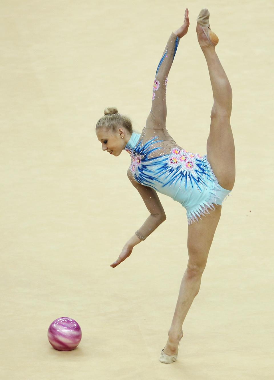 LONDON, ENGLAND - JANUARY 16: Kseniya Moustafaeva of France in action in the Individual All-Around during the FIG Rhythmic Gymnastics Olympic Qualification round at North Greenwich Arena on January 16, 2012 in London, England. (Photo by Ian Walton/Getty Images)