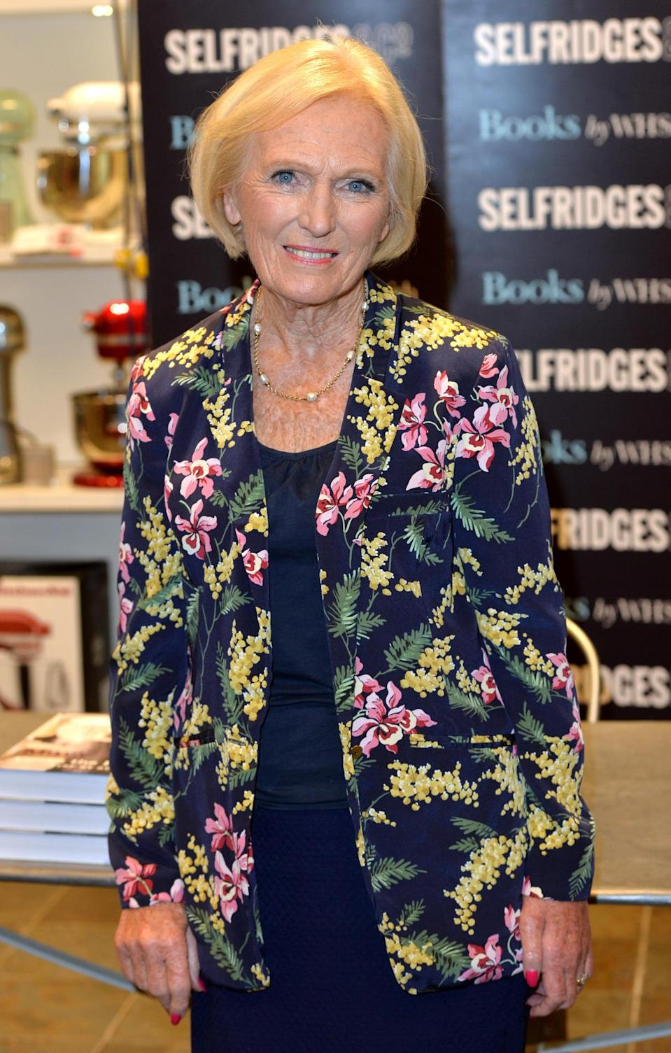 <p>Another day for Mary meant another eye-catching jacket. This time, she chose a floral blazer for a book signing at Selfridges.</p><p><i>[Photo: Getty]</i></p>