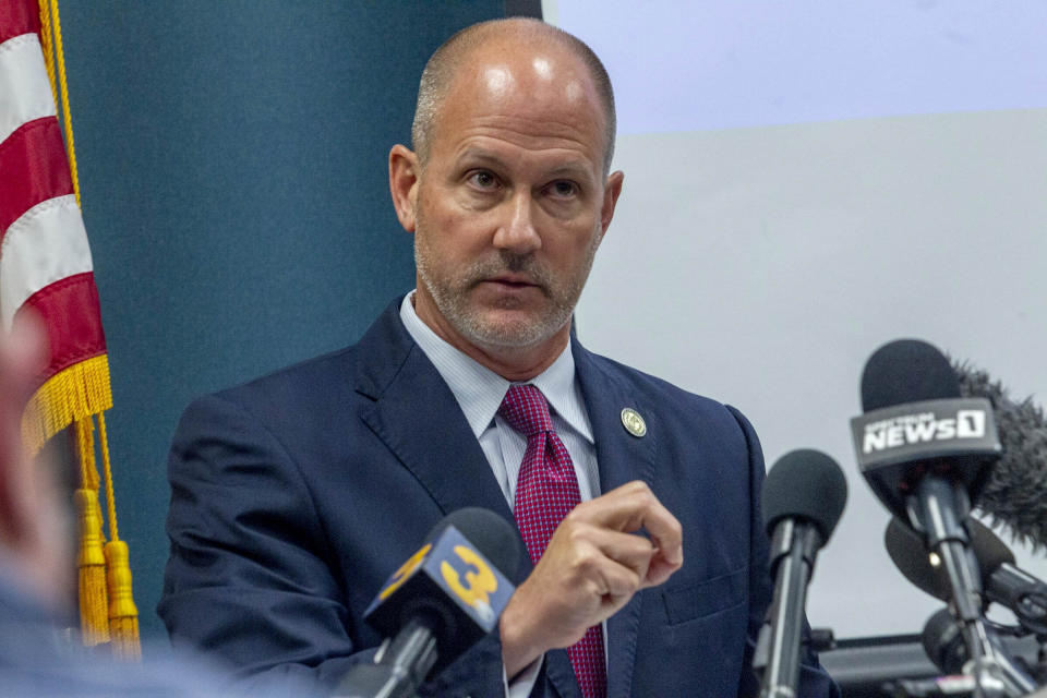 Pasquotank County District Attorney Andrew Womble answers questions from reporters after announcing he will not charge deputies in the fatal shooting of Andrew Brown Jr. during a news conference Tuesday.  (Travis Long/The News & Observer via AP)