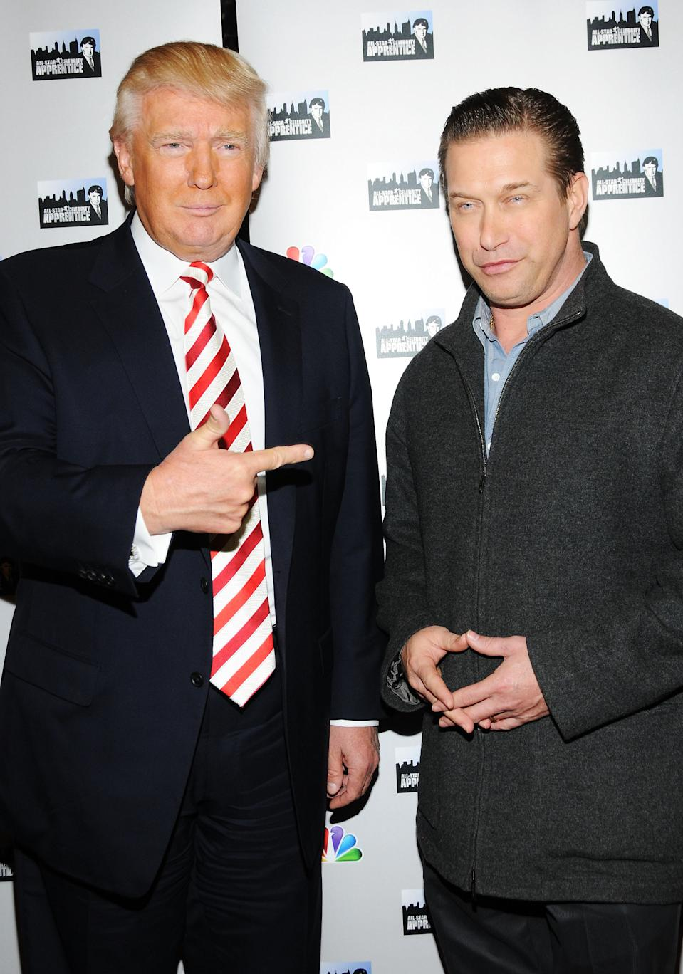 """Donald Trump and actor Stephen Baldwin attend the """"All-Star Celebrity Apprentice"""" Red Carpet Event at Trump Tower on April 16, 2013 in New York City."""