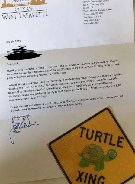PHOTO: Jack Wietbrock, 8, wrote the letter to his mayor after saving a baby turtle crossing the road in his Indiana neighborhood. (Michelle Wietbrock)