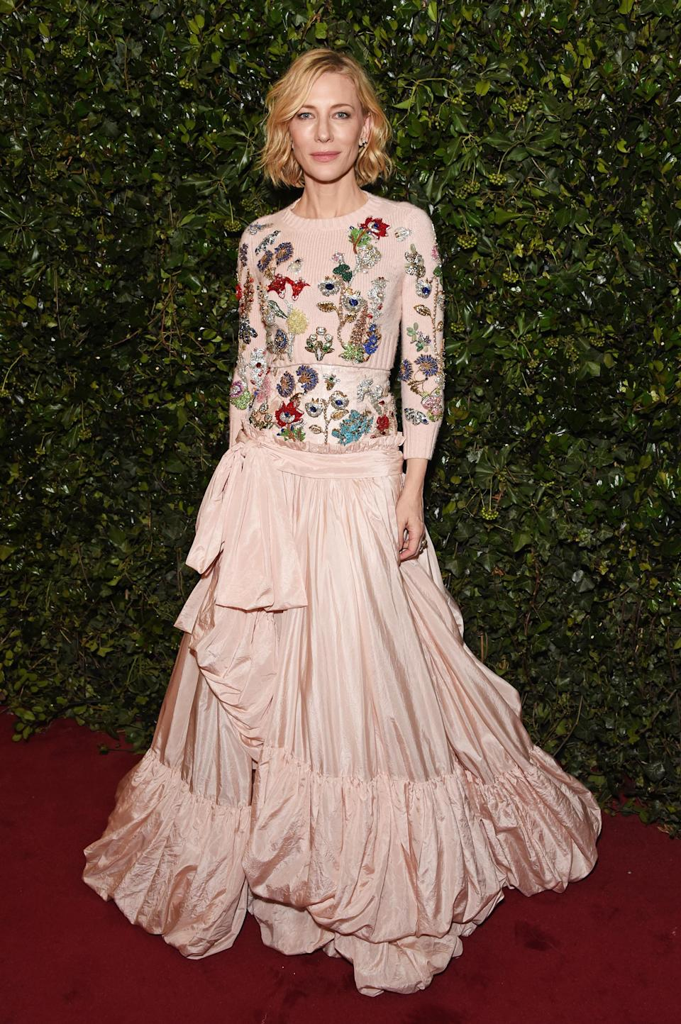 <p>Cate stole the show in a pink Alexander McQueen look featuring a knitted top and vintage-style skirt. <i>[Photo: Getty]</i> </p>