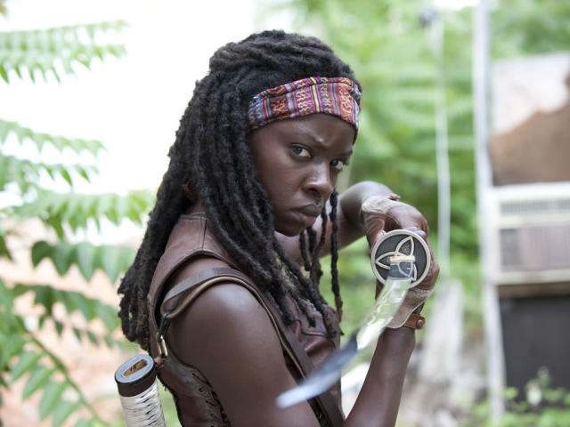 "Michonne (Danai Gurira) in ""Seed,"" the Season Three premiere episode of ""The Walking Dead"" on AMC."