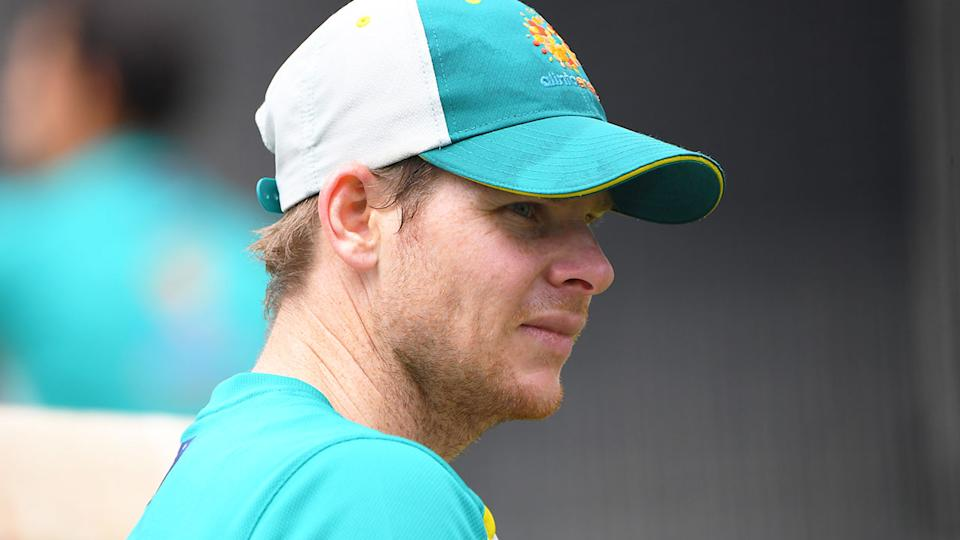 Steve Smith is pictured here during an Australian cricket training session.