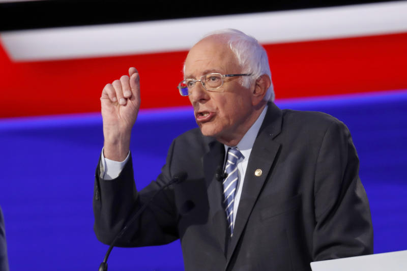 Democratic presidential candidate Sen. Bernie Sanders, I-Vt., participates in a Democratic presidential primary debate hosted by CNN/New York Times at Otterbein University, Tuesday, Oct. 15, 2019, in Westerville, Ohio. (AP Photo/John Minchillo)