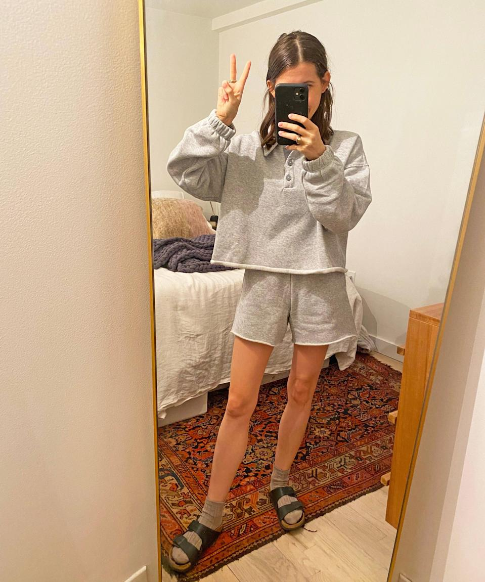 "<h2>Aerie Fleece-Of-Mind Cropped Polo Sweatshirt & High-Waited Short</h2><br><strong>Last Month's Top MVP:</strong><br>""I was getting super hot in my apartment wearing a full matching sweatsuit, so I picked up this shorts version from Aerie. The price point is great, it's super soft, and will be an A+ spring WFH lewk."" <em>– Kate Spencer, Creative & Updates Editor</em><br><br><em>Shop <strong><a href=""https://www.ae.com/us/en/p/aerie/tops/hoodies-sweatshirts/aerie-fleece-of-mind-cropped-polo-sweatshirt/0743_2264_012"" rel=""nofollow noopener"" target=""_blank"" data-ylk=""slk:Aerie"" class=""link rapid-noclick-resp"">Aerie</a></strong></em><br><em>Shop <strong><a href=""https://www.ae.com/us/en/p/aerie/bottoms/shorts/aerie-fleece-of-mind-high-waisted-short/0671_7592_012"" rel=""nofollow noopener"" target=""_blank"" data-ylk=""slk:Aerie"" class=""link rapid-noclick-resp"">Aerie</a></strong></em><br><br><strong>Aerie</strong> Fleece-Of-Mind Cropped Polo Sweatshirt, $, available at <a href=""https://go.skimresources.com/?id=30283X879131&url=https%3A%2F%2Fwww.ae.com%2Fus%2Fen%2Fp%2Faerie%2Ftops%2Fhoodies-sweatshirts%2Faerie-fleece-of-mind-cropped-polo-sweatshirt%2F0743_2264_012"" rel=""nofollow noopener"" target=""_blank"" data-ylk=""slk:AE"" class=""link rapid-noclick-resp"">AE</a><br><br><strong>Aerie</strong> Fleece-Of-Mind High Waisted Short, $, available at <a href=""https://go.skimresources.com/?id=30283X879131&url=https%3A%2F%2Fwww.ae.com%2Fus%2Fen%2Fp%2Faerie%2Fbottoms%2Fshorts%2Faerie-fleece-of-mind-high-waisted-short%2F0671_7592_012"" rel=""nofollow noopener"" target=""_blank"" data-ylk=""slk:AE"" class=""link rapid-noclick-resp"">AE</a>"