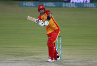 Islamabad United Alex Hales plays a shot during a Pakistan Super League T20 cricket match between Karachi Kings and Islamabad United at the National Stadium, in Karachi, Pakistan, Wednesday, Feb. 24, 2021. (AP Photo/Fareed Khan)