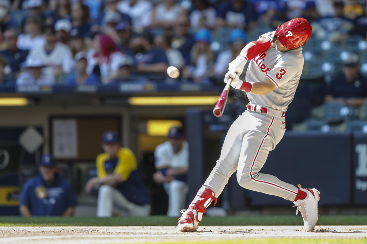 Philadelphia Phillies outfielder Bryce Harper (3) hits a two-run homer in the top of the first inning against the Brewers on Monday. (Photo by Lawrence Iles/Icon Sportswire via Getty Images)