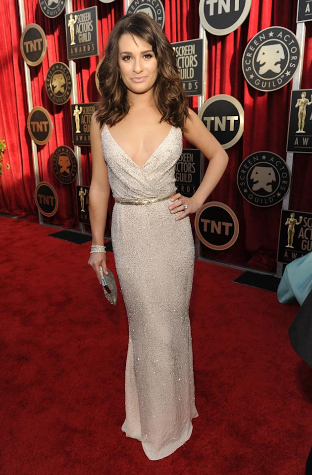 Lea Michele arrives at the TNT/TBS broadcast of the 17th Annual Screen Actors Guild Awards held at The Shrine Auditorium on January 30, 2011 in Los Angeles, California.