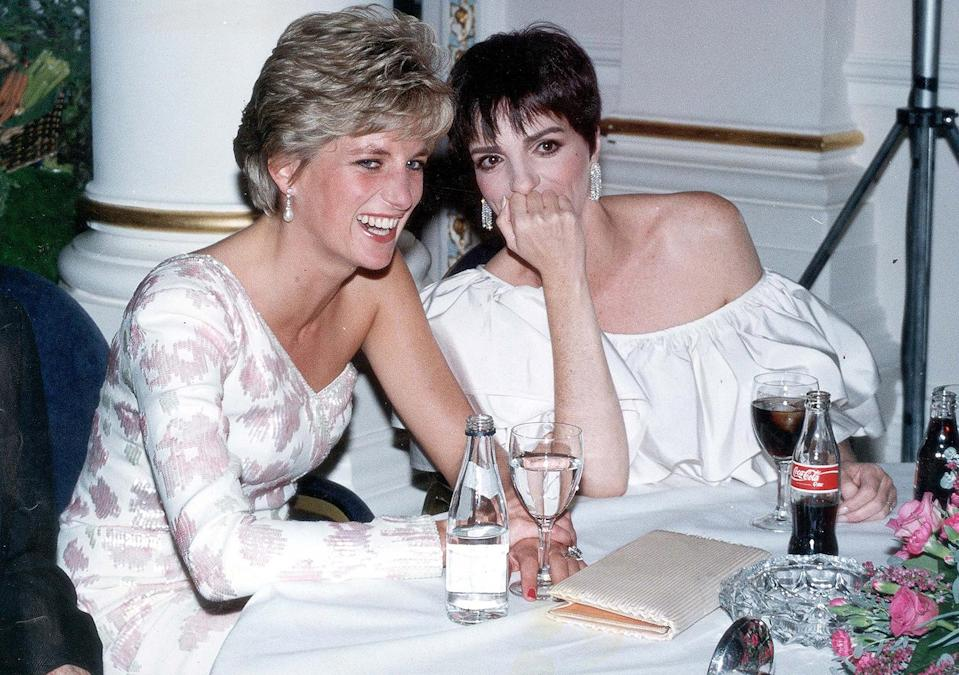 <p>In 1991, Minnelli shared a laugh with Princess Diana at a party following a charity film premiere of <em>Stepping Out </em>in London. </p>