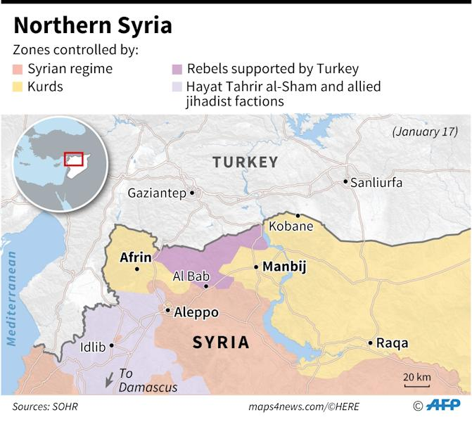Map of northwestern Syria showing zones controlled by various factions (AFP Photo/Thomas SAINT-CRICQ, Sophie RAMIS, Simon MALFATTO, Laurence SAUBADU)