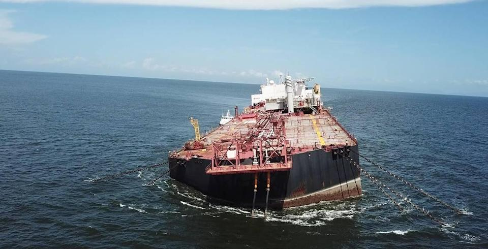 Trinidadian environmental group Fishermen and Friends of the Sea said it photographed a dangerously tilting Venezuelan-flagged vessel, the Nabarima, in the Gulf of Paria. The group said the ship is in danger of capsizing with nearly 55 million gallons of crude oil.