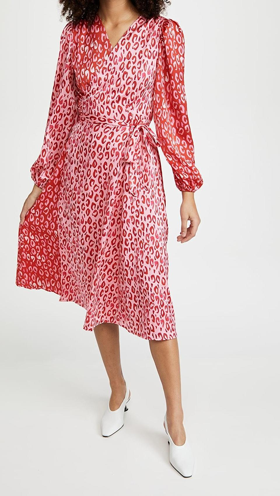 <p>This <span>Never Fully Dressed Long Sleeve Pink &amp; Red Leopard Wrap Dress</span> ($97, originally $139) will attract so many compliments, you'll wear it over and over again.</p>