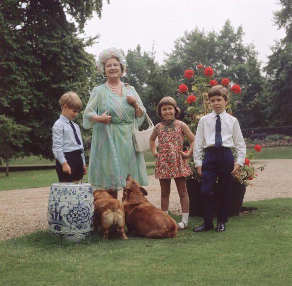 <p>On The Queen Mother's 70th birthday, she and her grandchildren Prince Edward, Lady Sarah Armstrong-Jones, and Viscount Linley hang out with some corgis.</p>