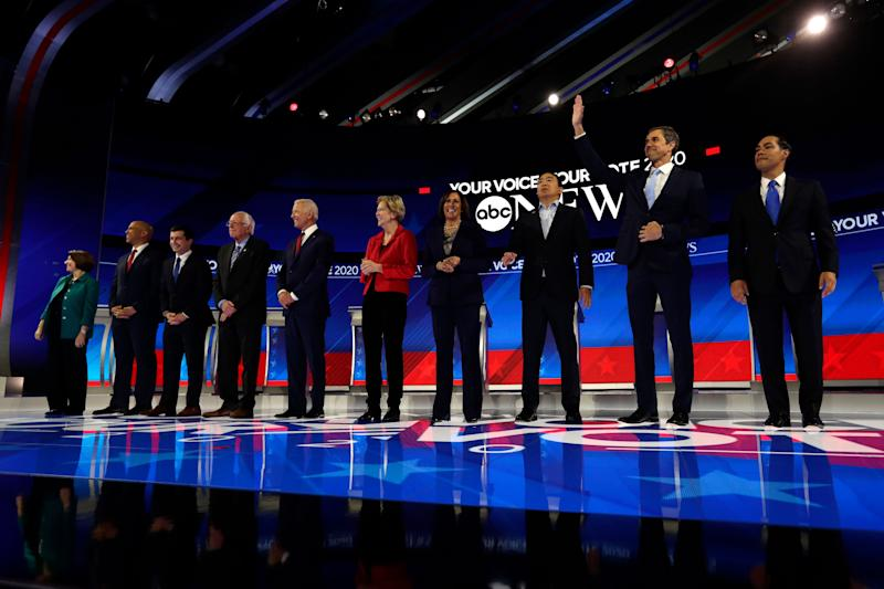 Democratic presidential candidates are introduced for the Democratic presidential primary debate hosted by ABC on the campus of Texas Southern University Thursday, Sept. 12, 2019, in Houston.  (Photo: ASSOCIATED PRESS)