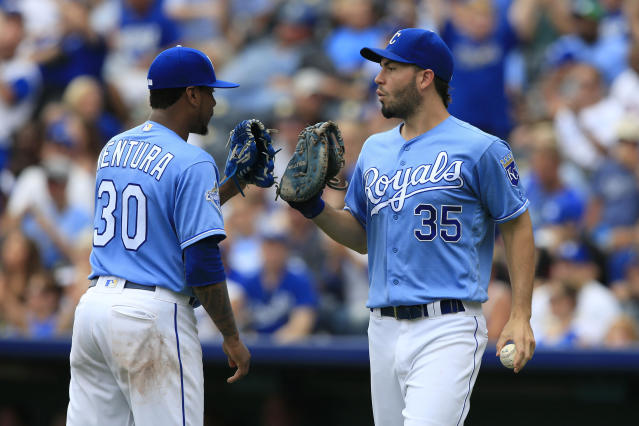 Kansas City Royals starting pitcher Yordano Ventura (30) and first baseman Eric Hosmer (35) of a baseball game against the Toronto Blue Jays at Kauffman Stadium in Kansas City, Mo., Sunday, Aug. 7, 2016. (AP Photo/Orlin Wagner)