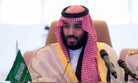 Saudi Crown Prince Mohammed bin Salman speaks during the meeting of Islamic Military Counter Terrorism Coalition defence ministers in Riyadh