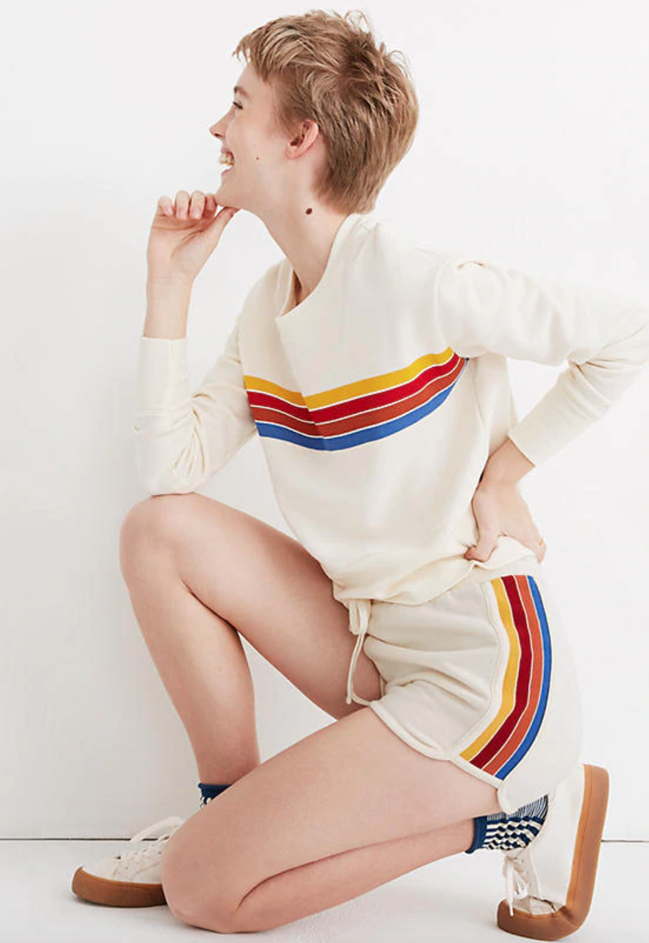 """<br> <br> <strong>Madewell</strong> Rainbow-Inset Sweatshorts, $, available at <a href=""""https://go.skimresources.com/?id=30283X879131&url=https%3A%2F%2Fwww.madewell.com%2Frainbow-inset-sweatshorts-AI509.html%3Fcolor%3DKF0398%23q%3Dsweatshort%26lang%3Ddefault%26start%3D1"""" rel=""""nofollow noopener"""" target=""""_blank"""" data-ylk=""""slk:Madewell"""" class=""""link rapid-noclick-resp"""">Madewell</a>"""