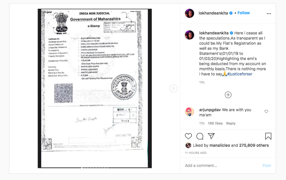 Ankita Lokhande shares the registration of her apartment.