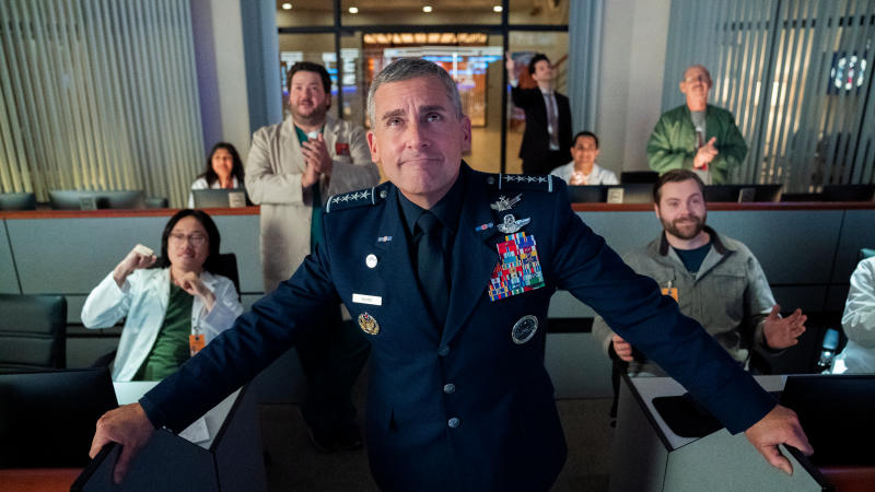 Steve Carell leads the new Netflix comedy series 'Space Force'. (Credit: Aaron Epstein/Netflix)