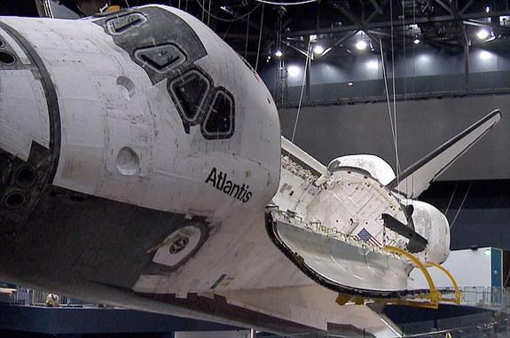 Space shuttle Atlantis' payload bay has been opened as part of the preparations for the retired orbiter's June 29, 2013 debut on public display at the Kennedy Space Center Visitor Complex in Florida.