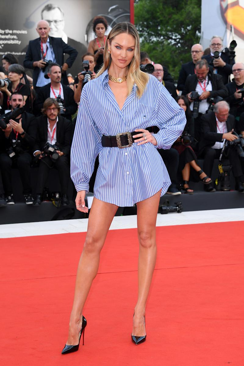 Candice Swanepoel in an oversized Etro GE01 shirt at the Venice Film Festival.