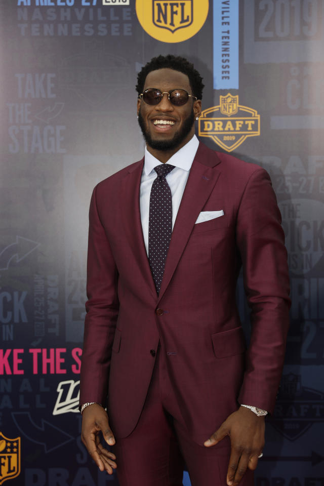 Florida State defensive end Brian Burns walks the red carpet ahead of the first round at the NFL football draft, Thursday, April 25, 2019, in Nashville, Tenn. (AP Photo/Mark Humphrey)