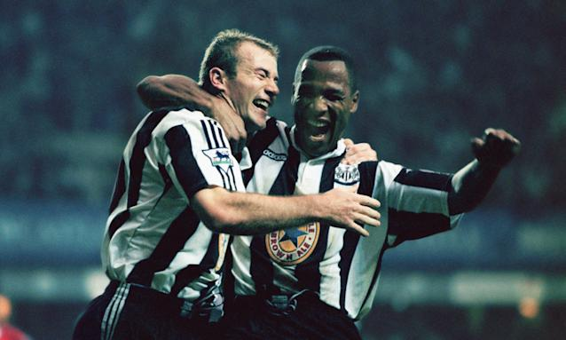 Alan Shearer and Les Ferdinand celebrate during Newcastle's 5-0 win against Manchester United in October 1996.