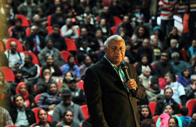 Fiji's Prime Minister Frank Bainimarama urged the United States to play its part in rescuing his Pacific island state -- and the world at large -- from climate change (AFP Photo/Michael Bradley)
