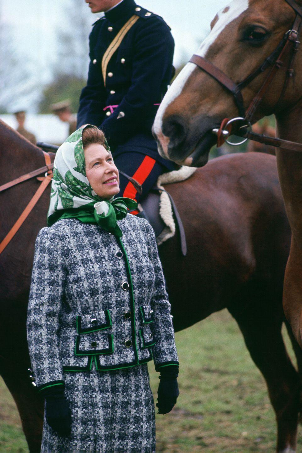 <p>Her Highness chatted with equestrians at the Windsor Horse Show in Windsor, United Kingdom.</p>
