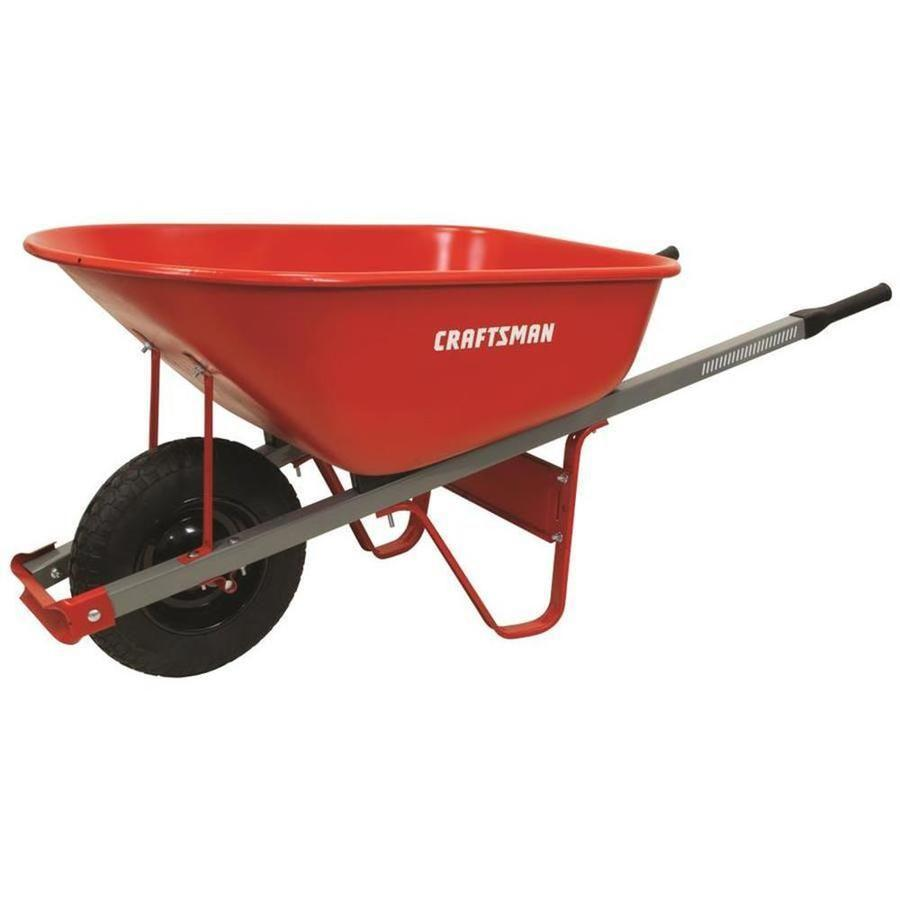 """<p><strong>Craftsman</strong></p><p>Lowes</p><p><strong>$74.98</strong></p><p><a href=""""https://go.redirectingat.com?id=74968X1596630&url=https%3A%2F%2Fwww.lowes.com%2Fpd%2FCRAFTSMAN-6-cu-ft-Steel-Wheelbarrow%2F1000737276&sref=https%3A%2F%2Fwww.goodhousekeeping.com%2Fhome-products%2Fg36266672%2Fbest-wheelbarrows%2F"""" rel=""""nofollow noopener"""" target=""""_blank"""" data-ylk=""""slk:Shop Now"""" class=""""link rapid-noclick-resp"""">Shop Now</a></p><p>With a sturdy steel tray able to hold about 6 cubic feet, <strong>this classic model is not too big or too small</strong>, and will get almost any job done for under $100. Built to last for years, this wheelbarrow also features pneumatic tires, so you're less likely to get a flat. Comfort grips on the steel handles also make this model easy for most to maneuver.</p>"""
