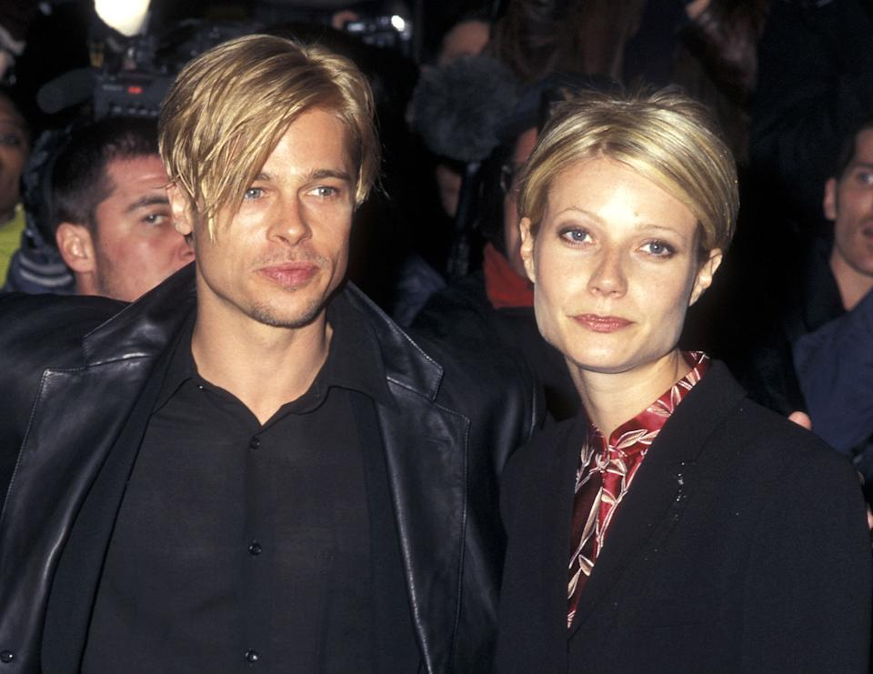 Actor Brad Pitt and actress Gwyneth Paltrow attend 'The Devil's Own' New York City Premiere on March 13, 1997 at City Cinemas Cinema 1 in New York City. (Photo by Ron Galella/Ron Galella Collection via Getty Images)