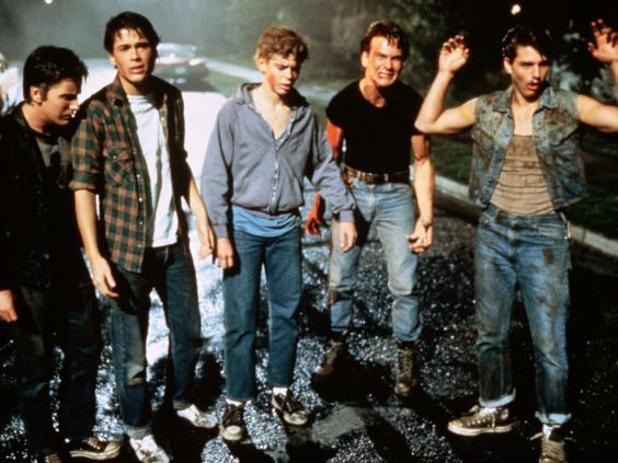 Coppola's cast included (from left) Emilio Estevez, Rob Lowe, C Thomas Howell, Patrick Swayze and Tom Cruise (Rex)