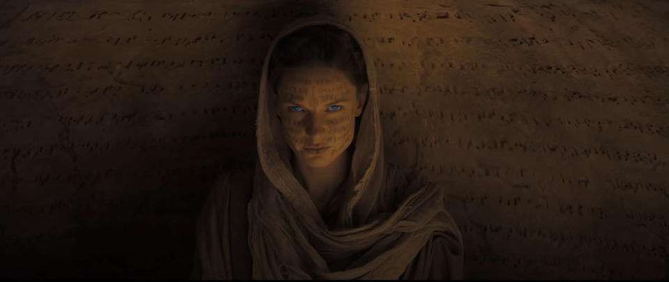 Lady Jessica with Fremen script over her face