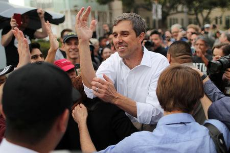 FILE PHOTO: U.S. Democratic presidential candidate Beto O'Rourke greets supporters after speaking at a rally in Los Angeles, California, U.S., April 27, 2019. REUTERS/Lucy Nicholson