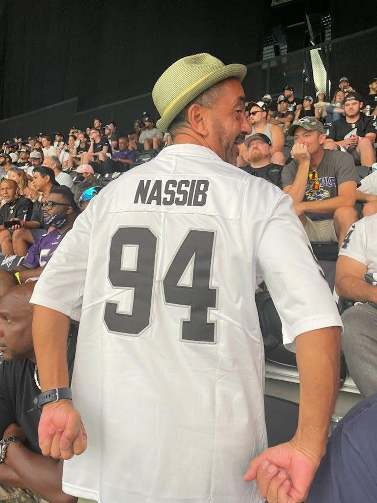 Andrew Erazos said he was getting positive reaction to his Carl Nassib jersey at Monday's Raiders game.