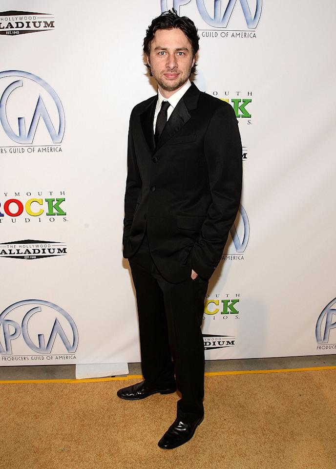"<a href=""http://movies.yahoo.com/movie/contributor/1800021997"">Zach Braff</a> at the 20th Annual Producers Guild Awards in Hollywood - 01/24/2009"