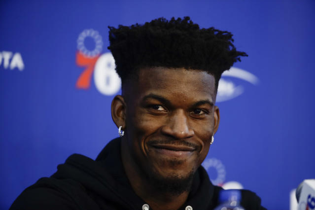 """<a class=""""link rapid-noclick-resp"""" href=""""/nba/players/4912/"""" data-ylk=""""slk:Jimmy Butler"""">Jimmy Butler</a> has finally been traded to a new team, but his issues with the <a class=""""link rapid-noclick-resp"""" href=""""/nba/teams/min"""" data-ylk=""""slk:Timberwolves"""">Timberwolves</a> are still a major topic of conversation. (AP Photo/Matt Rourke)"""