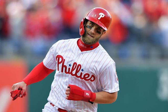 Bryce Harper went hitless in his debut with the Philadelphia Phillies. (Getty Images)