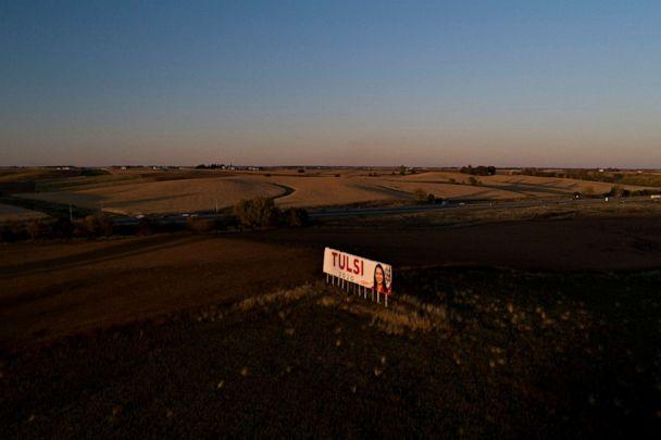 PHOTO: A billboard supporting 2020 presidential candidate Rep. Tulsi Gabbard stands in this aerial image over Williamsburg, Iowa on Oct. 25, 2019. (The Washington Post via Getty Images, FILE)