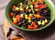 "<p>Make <a href=""https://www.goodhousekeeping.com/health/diet-nutrition/a20088526/black-beans-nutrition/"" rel=""nofollow noopener"" target=""_blank"" data-ylk=""slk:black bean"" class=""link rapid-noclick-resp"">black bean</a> salad by tossing 1/2 cup canned black beans, 1/2 cup orange slices, chopped red bell peppers, red onion, scallions, and any other desired veggies with 1 teaspoon vinegar. Serve over salad greens. Serve with 1 100% stone ground corn tortilla and a piece of fruit.</p>"