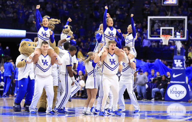 According to UK, a lake party involving public nudity and excessive alcohol use prompted an investigation into the nation's most successful cheerleading team. (Andy Lyons/Getty Images)