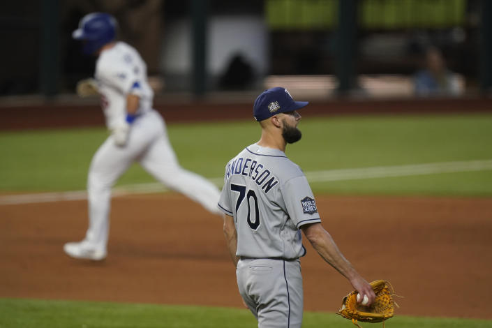 Los Angeles Dodgers' Will Smith rounds the bases after a home run off Tampa Bay Rays relief pitcher Nick Anderson during the sixth inning in Game 2 of the baseball World Series Wednesday, Oct. 21, 2020, in Arlington, Texas. (AP Photo/Eric Gay)
