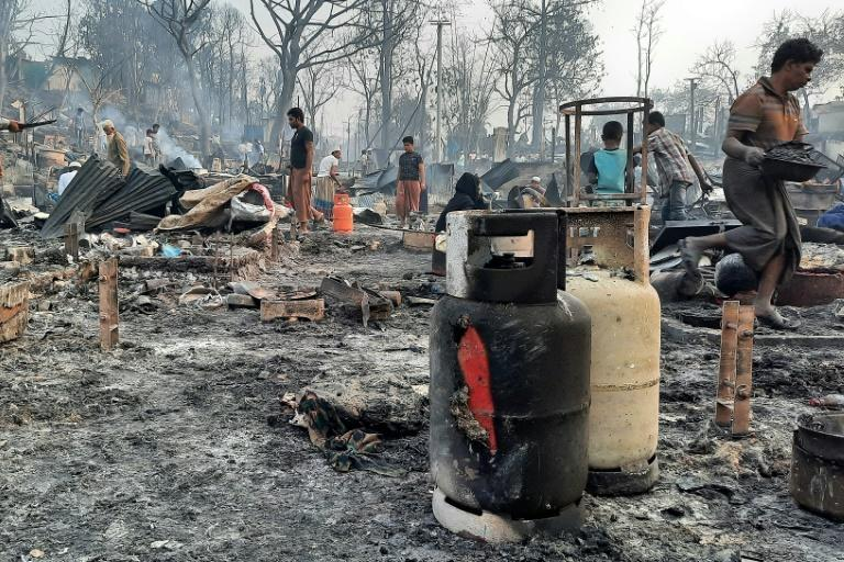 A huge fire swept through parts of the world's biggest refugee camp in Bangladesh, claiming at least seven lives