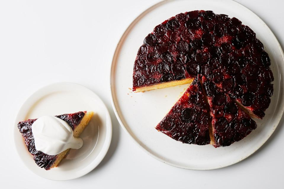 "Because it calls for frozen fruit, one bowl for mixing, and minimum kitchen equipment, this cake is a breeze for bakers of all levels. But you do need a cake pan with high sides; otherwise, it'll overflow. <a href=""https://www.epicurious.com/recipes/food/views/easy-one-bowl-cherry-upside-down-cake?mbid=synd_yahoo_rss"" rel=""nofollow noopener"" target=""_blank"" data-ylk=""slk:See recipe."" class=""link rapid-noclick-resp"">See recipe.</a>"