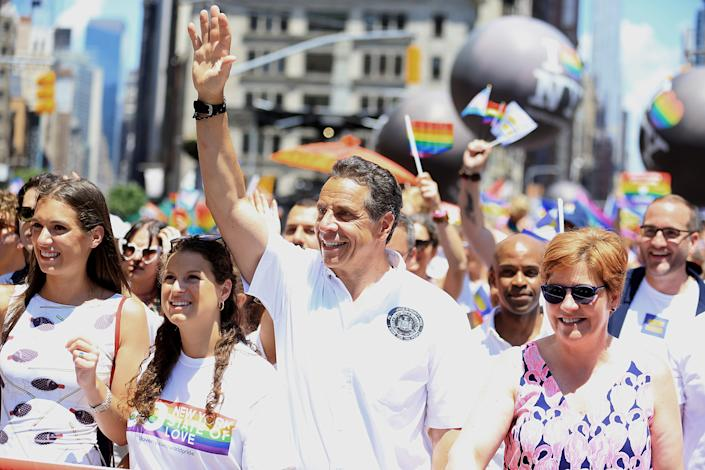 New York Governor Andrew Cuomo marches in the NYC Pride Parade in New York, Sunday, June 30, 2019. (Gordon Donovan/Yahoo News)